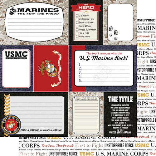 Scrapbook Customs 12x12 Military Themed Paper: Marines Journal Cards