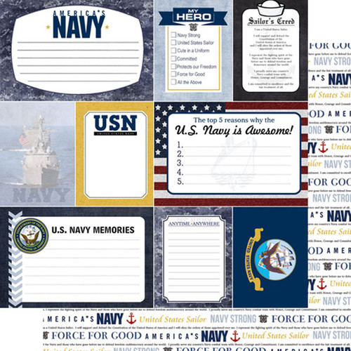 Scrapbook Customs 12x12 Military Themed Paper: Navy Journal Cards