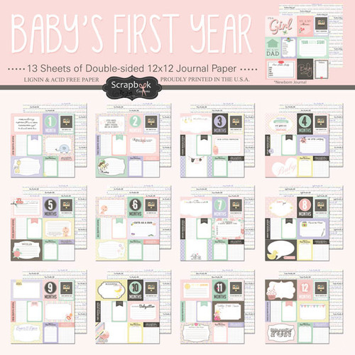 Scrapbook Customs Baby's First Year 12x12 Collection Pack: Girl