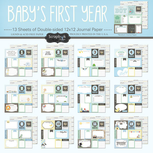 Scrapbook Customs Baby's First Year 12x12 Collection Pack: Boy