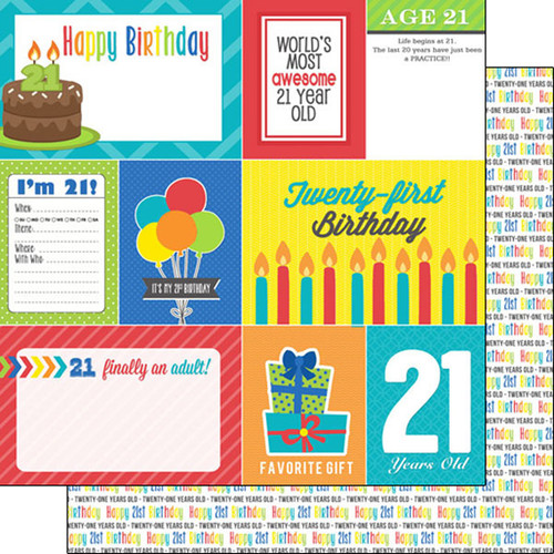 Scrapbook Customs Birthday 12x12 Paper: 21st