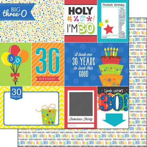 Scrapbook Customs Birthday 12x12 Paper: 30th