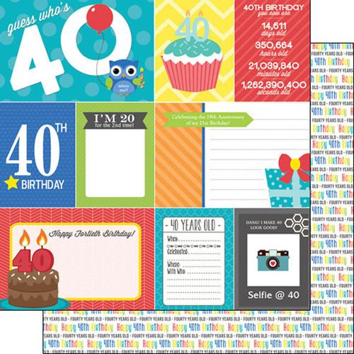 Scrapbook Customs Birthday 12x12 Paper: 40th