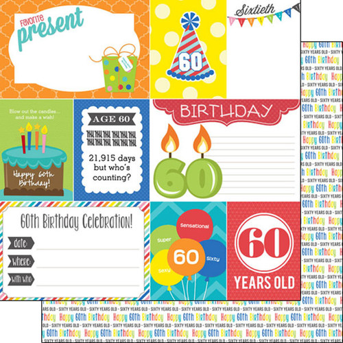 Scrapbook Customs 12x12 Birthday Themed Paper: 60th