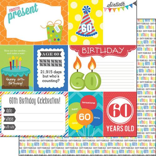 Scrapbook Customs Birthday 12x12 Paper: 60th