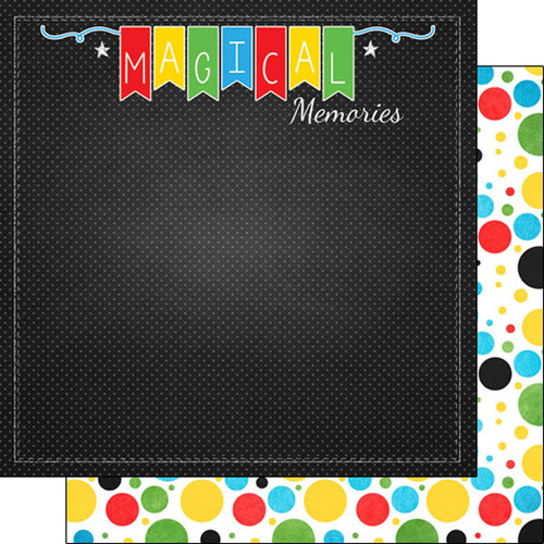 Scrapbook Customs 12x12 Disney Themed Paper: Memories & Polka Dots