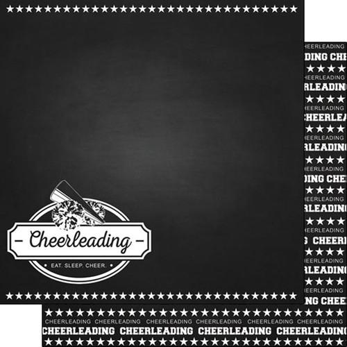 Scrapbook Customs 12x12 Sports Themed Paper: Chalkboard - Cheerleading