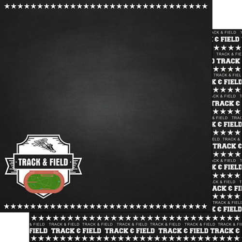 Scrapbook Customs 12x12 Sports Themed Paper: Chalkboard - Track & Field