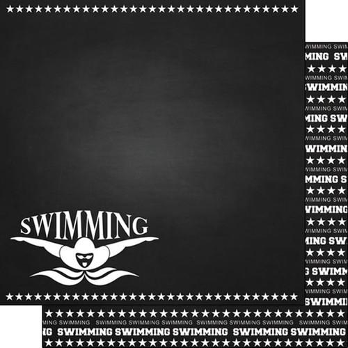 Scrapbook Customs 12x12 Sports Themed Paper: Chalkboard - Swimming