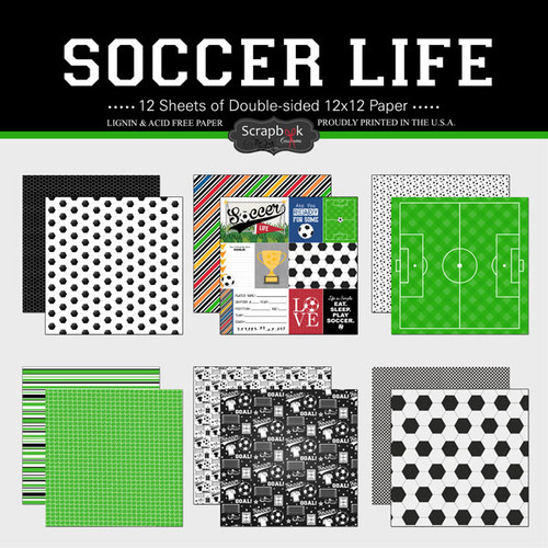 Scrapbook Customs 12x12 Sports Themed Paper Pack: Soccer Life