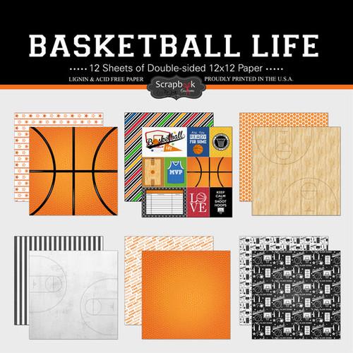 Scrapbook Customs 12x12 Sports Themed Paper Pack: Basketball Life