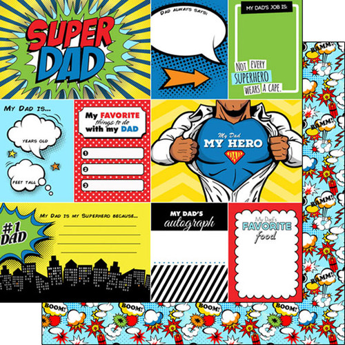 Scrapbook Customs 12x12 Family Themed Paper: Super Dad