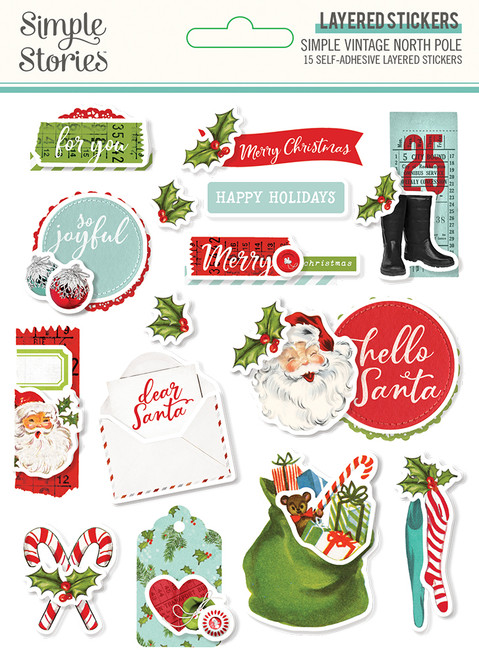 Simple Vintage North Pole Layered Stickers