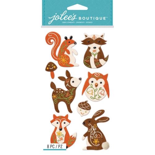 Jolee's Boutique Le Grande Dimensional Stickers: Woodland Felt Animals