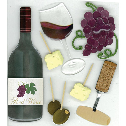 Jolee's Boutique Dimensional Stickers: Wine Tasting