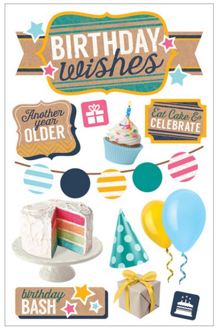 Paper House 3D Sticker: Birthday Wishes