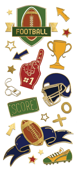 Paper House StickyPix Faux Enamels Sticker: Football
