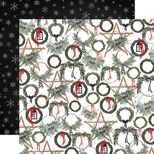 Carta Bella Farmhouse Christmas 12x12 Paper: Noel Wreaths