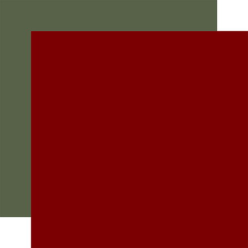 Carta Bella Farmhouse Christmas 12x12 Paper: Dk. Red / Sage Green (Coordinating Solid)