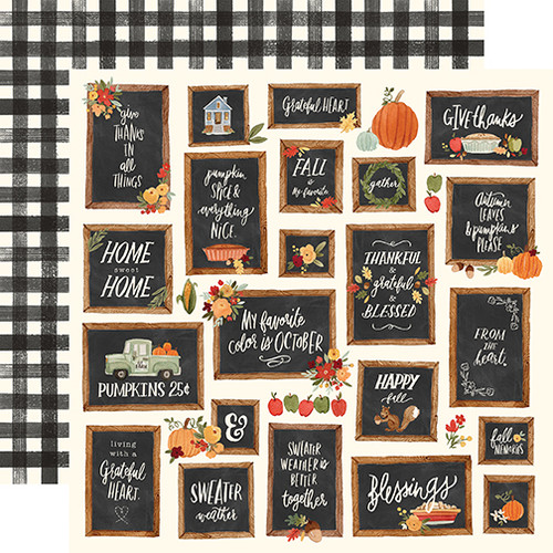 Carta Bella Hello Autumn 12x12 Paper: Give Thanks Boards