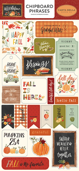 Carta Bella Hello Autumn 6x13 Chipboard Phrases