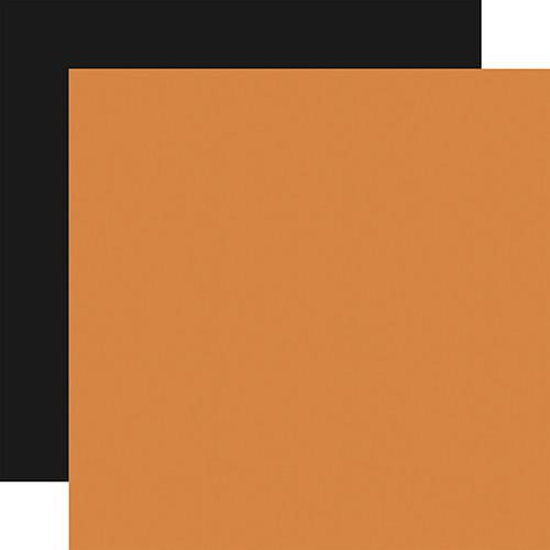 Carta Bella Halloween Market 12x12 Paper: Orange / Black (Coordinating Solid)