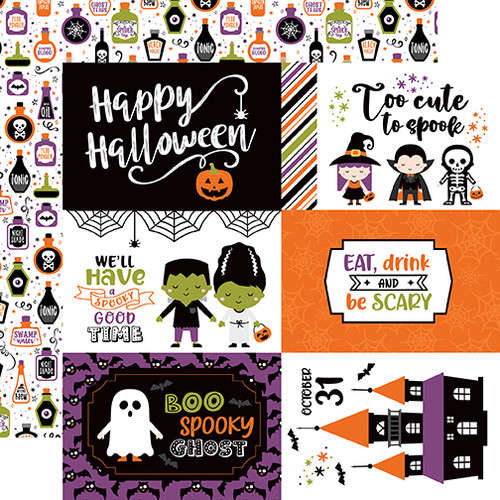 Echo Park I Love Halloween 12x12 Paper: 6X4 Journaling Cards