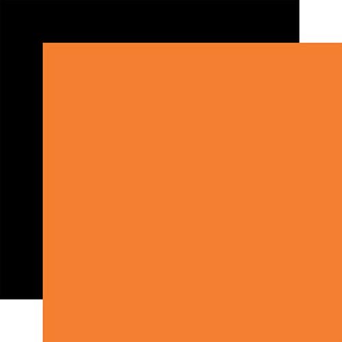Echo Park I Love Halloween 12x12 Paper: Orange / Black (Coordinating Solid)