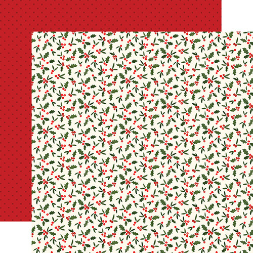 Carta Bella Hello Christmas 12x12 Paper: Holly Berries