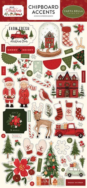 Carta Bella Hello Christmas 6x13 Chipboard Accents