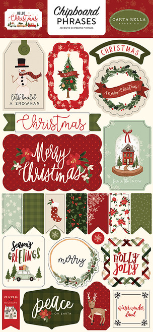 Carta Bella Hello Christmas 6x13 Chipboard Phrases