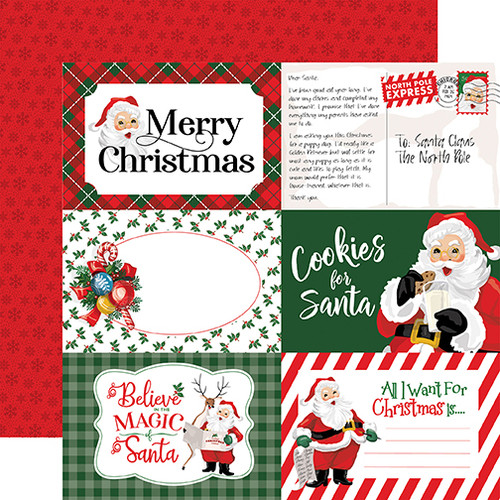 Carta Bella Dear Santa 12x12 Paper: 4X6 Journaling Cards