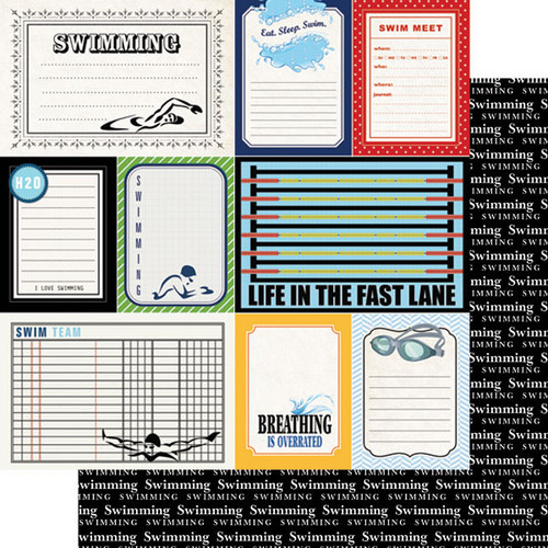 Scrapbook Customs Sports Journal 12x12 Paper: Swimming