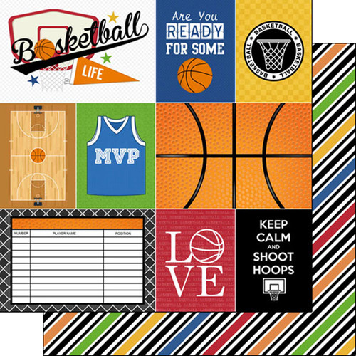 Scrapbook Customs Sports Life 12x12 Paper: Basketball 1