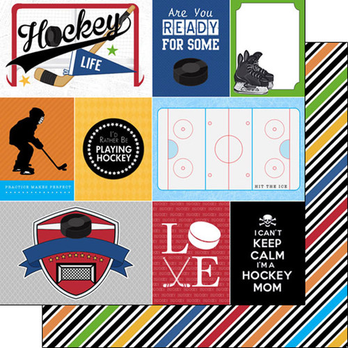 Scrapbook Customs Sports Life 12x12 Paper: Hockey