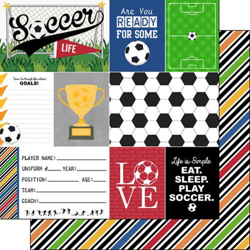 Scrapbook Customs Sports Life 12x12 Paper: Soccer 1