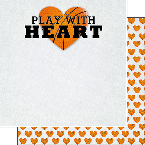 Scrapbook Customs 12x12 Sports Themed Paper: Play with Heart - Basketball