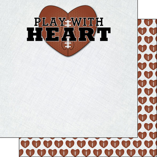 Scrapbook Customs 12x12 Sports Themed Paper: Play with Heart - Football