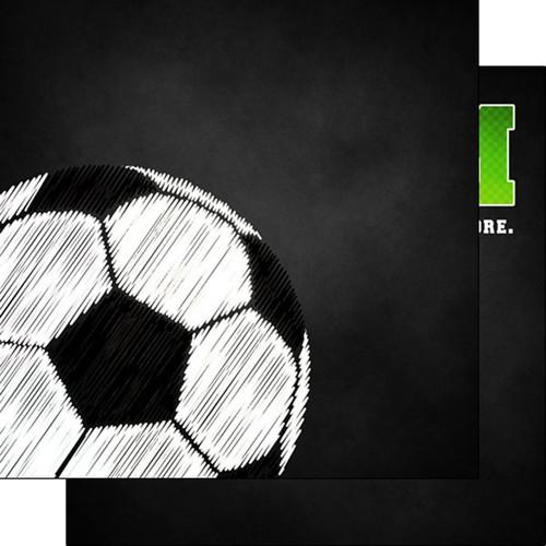 Scrapbook Customs 12x12 Sports Themed Paper: Neon - Soccer