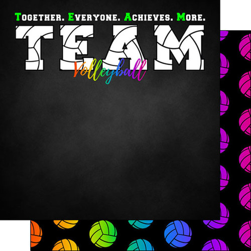 Scrapbook Customs 12x12 Sports Themed Paper: Neon - Volleyball