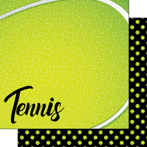 Scrapbook Customs 12x12 Sports Themed Paper: Neon - Tennis