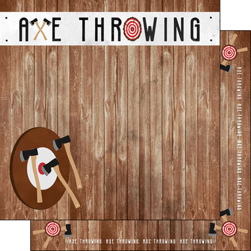 Scrapbook Customs Watercolor Sports 12x12 Paper: Axe Throwing