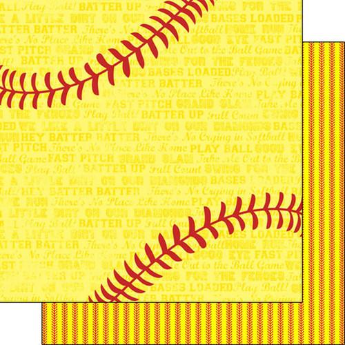 Scrapbook Customs Sports Addict 12x12 Paper: Softball