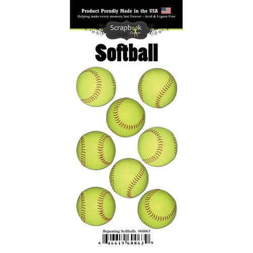Scrapbook Customs Repeating Stickers: Softball