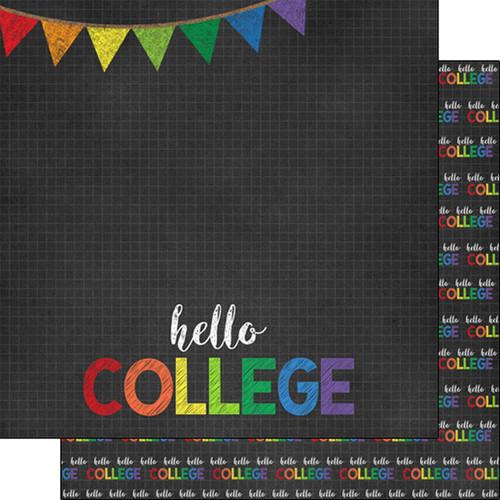 Scrapbook Customs 12x12 School Themed Paper: Hello College