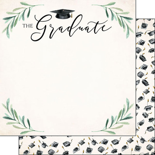 Scrapbook Customs 12x12 Graduation Themed Paper: Watercolor Graduate