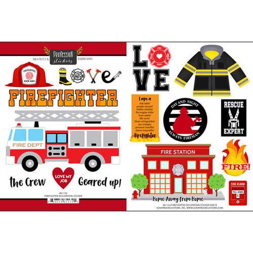 Scrapbook Customs Sticker: Firefighter