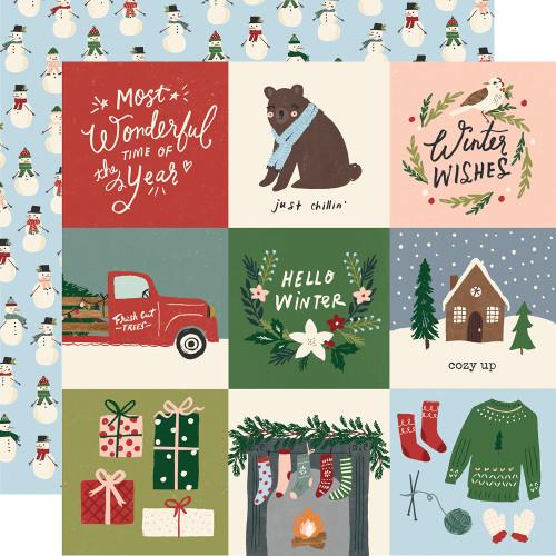 Winter Cottage 12x12 Paper: 4x4 Elements