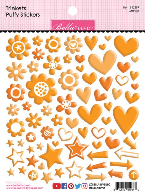 Bella Besties Trinkets Puffy Stickers: Orange