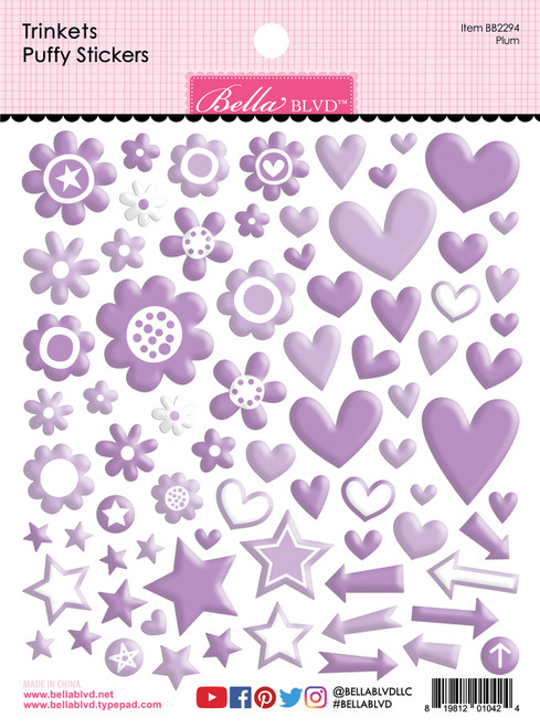 Bella Besties Trinkets Puffy Stickers: Plum